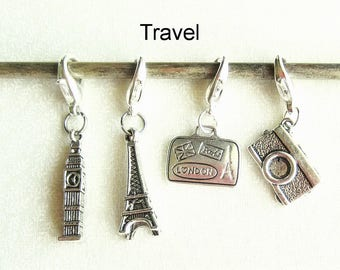 Progress Keepers, Removable Stitch Markers, Knitting Markers, Crochet Markers, Zipper Pull Charms - Set of 4 - Travel