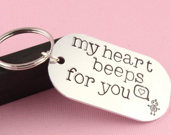 SALE - My Heart Beeps For You - Geek Love Couples Keychain - Keyring Key Chain Key Ring - Mother's Day