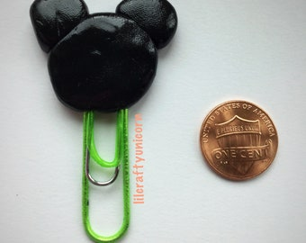 Mickey Mouse paper bookmark/paper clip polymer clay charm