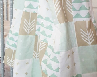 Mint and Taupe Tribal Patchwork Baby Blanket-2 sizes available- mint, taupe, arrows, aztec