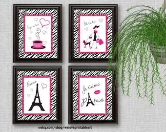 Paris Decor, Paris Art Prints, Pink and Black, Paris Bedroom Decor, Girls Bedroom Decor, Wall Art, Zebra Print