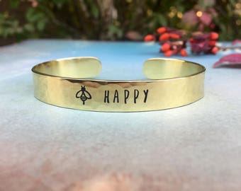 Bee Happy Bracelet, Gift for Gardener, Honey Bee Jewelry, Plant Lovers Gift, Bee Keeper Gift, Red Fern Studio