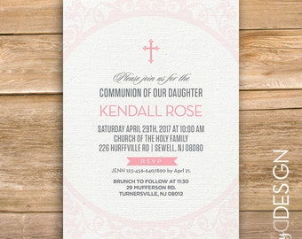 Girl First Holy Communion invitation, Communion Invite, Baptism Invite, Religious, Cross, Pink, printable, instant download