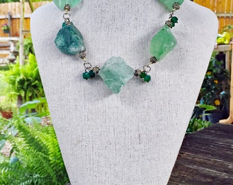 Raw Fluorite Stone and Green Onyx Necklace