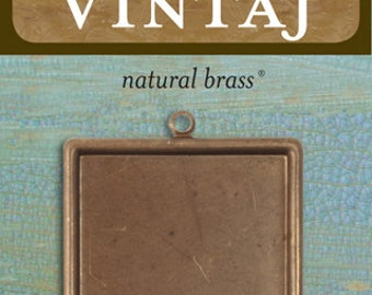 Vintaj 29.5mm Classic Square Bezel (1 pc/pkg)