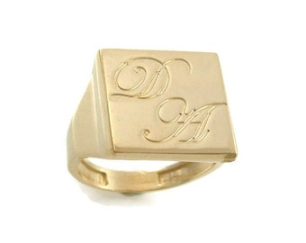 14k solid gold Initial ring. Gold men ring. mens initial ring. monogram jewelry. Gift for him. Personalized ring. Signet ring. monogram ring