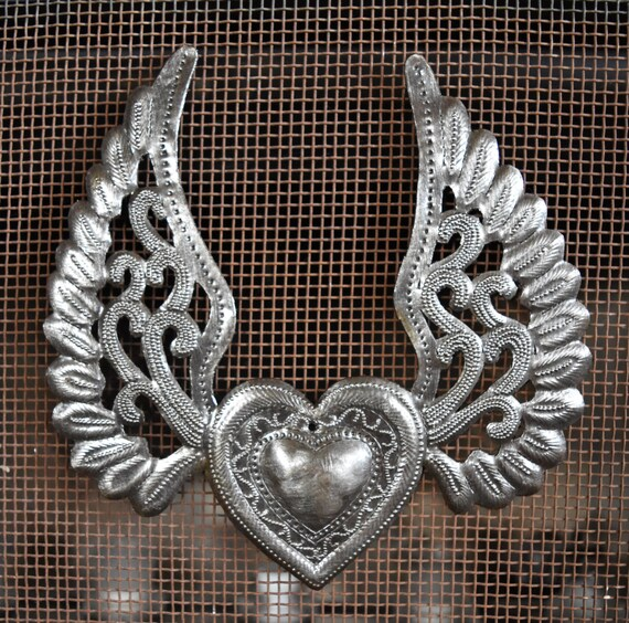 Heart with Wings, Metal Wall Art, Recycled Steel, Haiti Art, Flying Heart, Tattoo Art, Winged Heart made from 55 gallon steel Barrel