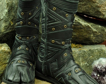 Ninja Triangol Black Leather Boots - Flower of Life by Pleiadian