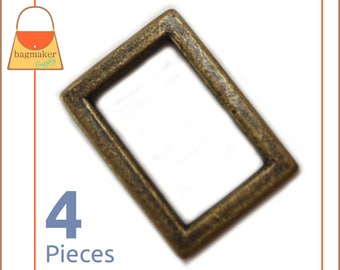 """3/4 Inch Flat Cast Rectangle Ring, Antique Brass Finish, 4 Pieces, Handbag Purse Bag Making Hardware Supplies, .75 Inch, .75"""", RNG-AA274"""