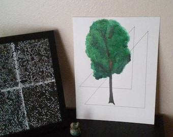 Tree Anchored in Triangles - Watercolor and Ink Illustration