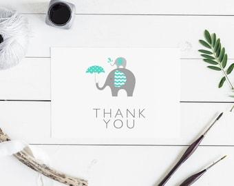 Thank You card/elephant thank you card/baby shower thank you card/baby shower card/jungle card/rainforest card/animal thank you card
