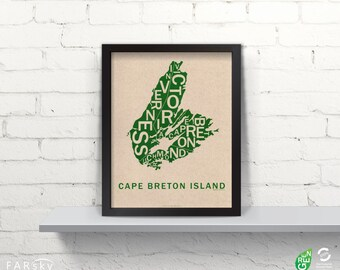 Far Sky Cape Breton Island Typographic Map