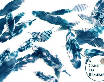 """35 small grey and dark teal edible feathers. Wafer paper feathers for a cupcake topper or cake pops. 1"""" to 2"""" long, feathers for cakes."""