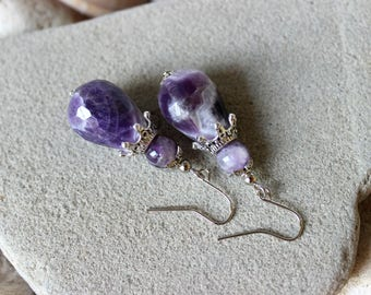 Amethyst Earrings, Amethyst Jewelry, Amethyst Silver Earrings, Amethyst Drop Earrings, Purple Bead Earrings, Chakra Earrings, Amethyst