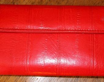 Red Hot RETRO GENUINE EELSKIN Wallet/Clutch/Chequebook Holder/Billfold
