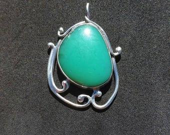 Chrysoprase pendant, silver pendant, necklace