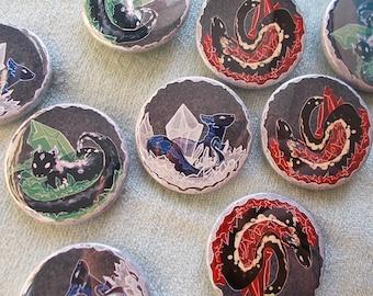 Terrarium Dragons in geodes 38mm Badges