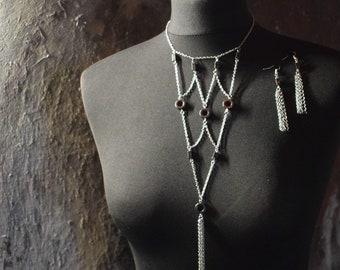 Elegant Hematite Tassel Necklace and Earring Set
