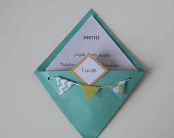 Menu and mark up green turquoise - baptism, birthday, communion, wedding