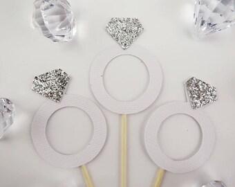 Wedding ring cupcake topper