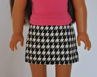 Black and White Houndstooth Mini Skirt  made to fit Wellie Wishers Doll Clothes 14.5 Inch Doll Clothes