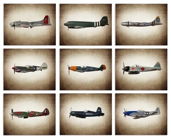 FLASH SALE til MIDNIGHT Vintage Wwii Airplanes Setof 9 Canvas Prints, Airplane Wall decor, Boys Room Decor, Airplane Wall Art
