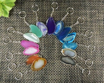 Agate Key chain- Dyed Agate Keychains - Choose Your Color and Quantity - 1 to 25 Pcs - Beautiful Slices!