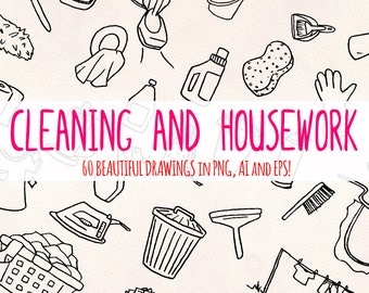 Cleaning - 60 Housework Illustrations - Vector Graphics Bundle!
