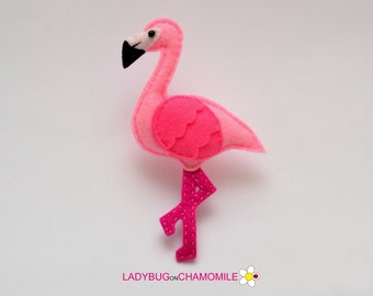 Felt FLAMINGO, stuffed felt Flamingo magnet or ornament, cute Flamingo, Flamingo toy, felt bird, home decor, Flamingo magnet,beautiful bird