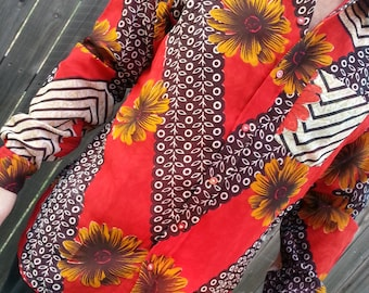 Long Sleeve, Fully Lined Men's Handmade Sari Material Button Down Dress Shirt - Red and Black Floral - Mirasol H857