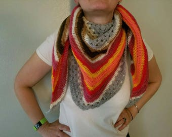 crochet scarf, crochet shawl, triangle scarf, neck warmer