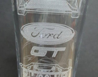 Ford GT Drawing - Laser Etched Pint Glass