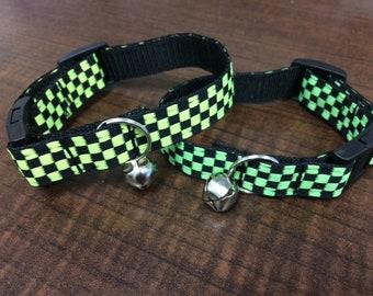 Neon checkered Cat collars