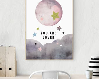 Whimsical Sky - Moon and Stars - Nursery Print - Children's Wall Art - Modern - Scandinavian - You are Loved - Available in Pinks & Blues