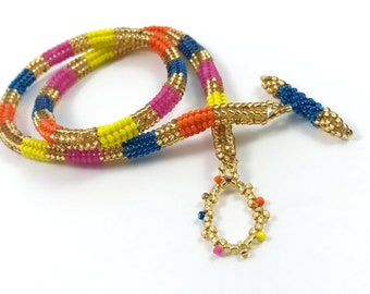 Indian Inspired Beaded Choker Rope Necklace