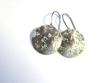 Hammered sterling silver disc earrings Distressed surgical steel everyday dangles Minimalist jewelry Lightweight drops