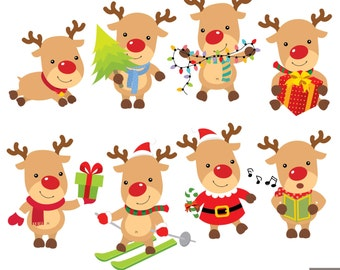 Christmas Reindeer Digital Clipart