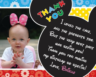 Mickey Mouse Clubhouse Thank You Card PRINTABLE CUSTOM WORDING
