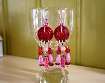 Pink boho chandelier earrings, agate, paper beads, ceramic beads, shell, glass, upcycled, recycled, dangle earrings