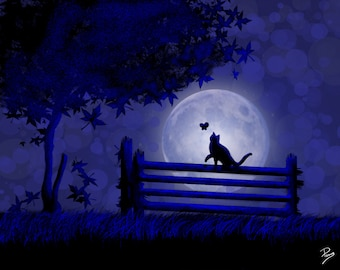 Full Moon Cat Playing on Fence PNG