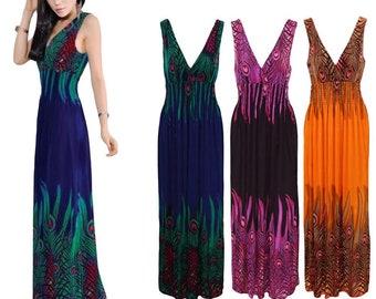 Bohemian long v neck dress, sleeveless, casual beach dress sundress