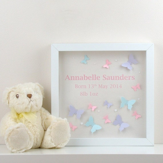 Personalised christening gift 3d butterfly wall art baby birth personalised christening gift 3d butterfly wall art baby birth name date perfect personalised childrens gift or personalised baby gift from negle Choice Image