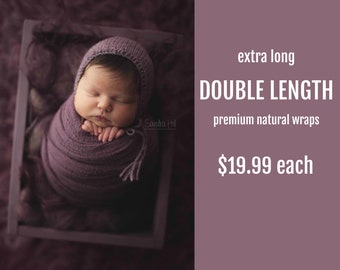 EXTRA LONG Wraps - Pick 1 - Double Length Premium Natural Newborn Wrap - Extra Large Cheesecloth Wrap - Baby Wrap - Photo Prop