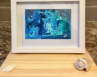 Moden Abstract Ocean Pallet Knife Acrylic White Framed Painting