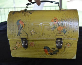 Vintage Thermos Metal Lunch Box with Hand Painted Birds Mid Century