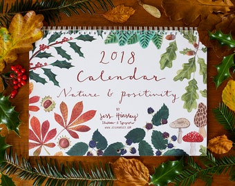2018 'Nature & Positivity' A4 Wall Calendar, Printed on Recycled Paper