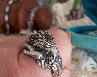 Fantastical ancient Raven Cherub artisan fine silver ring