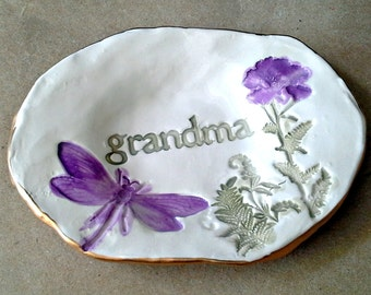 Ceramic Grandma Ring Dish Trinket Dish Ring Bowl  edged in gold  Mothers day