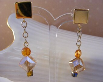 Gold, burnt orange, and taupe brown crystal dangle earrings