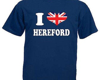 I love heart hereford adults mens t shirt 12 colours size s - 3xl